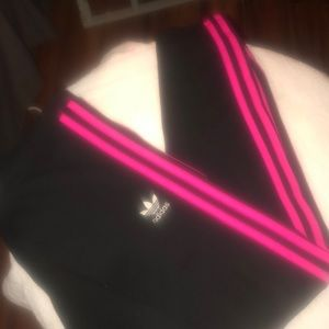 NWT Pink and Black Adidas leggings size L